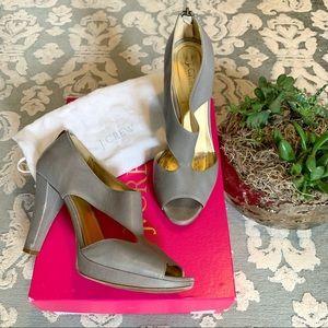 Alesia j crew platform peep-toe grey heels 7.5
